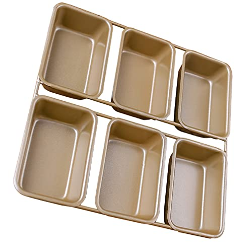 HEMOTON Non- Stick Bread Pan 6 Grids Iron Baking Bread Pan Loaf Pan Toast Mould Baking Tray Bakeware Baking Gadget for Home Bakery Golden