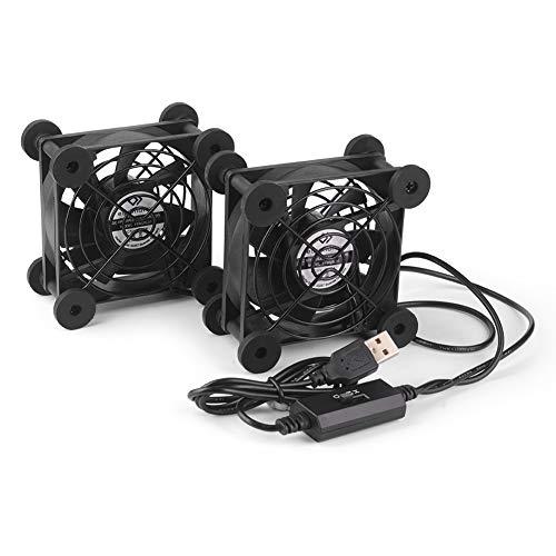 euroharry USB PC Ventilator 80MM Mit 3-Gang verstellbarem 5V Doppel Ventilator USB-Lüfter,mit Metallgrill 2 in 1 Gehäuselüfter zum pc/Laptop/Stereo-Vollverstärker/HiFi Verstärker