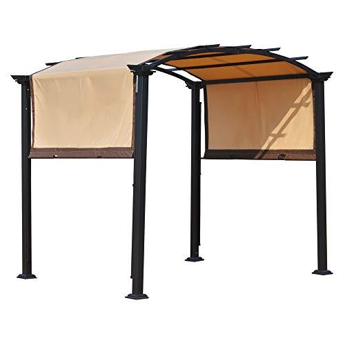 Outsunny Pérgola 3x2,5 m Cenador con Techo Retráctil para Jardín Patio Terraza Tela Poliéster Atornillados Resistente Protección de Rayos UV Beige