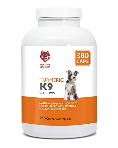 Healthy Hounds Turmeric for Dogs and Pets | 500mg Equal to 10 000mg | 100% Natural Turmeric with Bioperine Black Pepper Extract | Joint Care Supplement | Antioxidant | UK Made | 380 Caps
