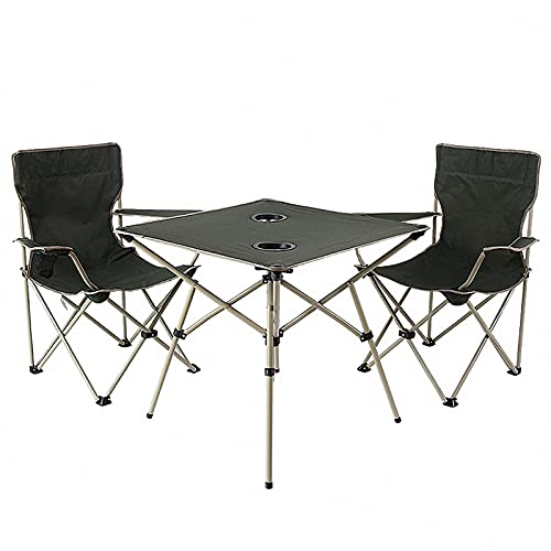 BIANGEY Mesa y Silla Plegables para Acampar, 2 sillas y 1 Mesa con Malla y Bolsa de Asas, utilizados para la Barbacoa de Camping, Pareja de Vacaciones, Fiesta de la Piscina