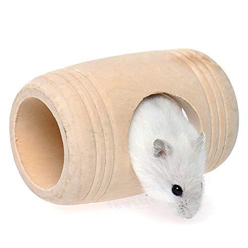 Fliyeong Natürliche Holz Runde Barrel Hamster Haus Hamster Spielzeug Haustier Haus für Ratte Hamster Meerschweinchen Ratte Verwenden 1 Stücke