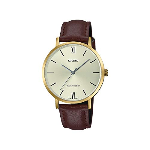 Casio LTP-VT01GL-9B Women's Minimalistic Gold Tone Brown Leather Band Gold Dial 3-Hand Analog Watch
