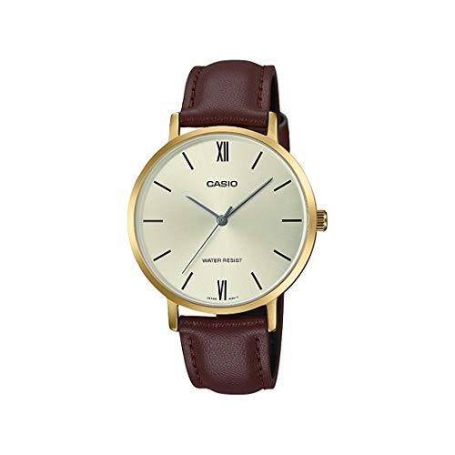 Casio LTP-VT01GL-9B Reloj analógico minimalista para mujer, tono dorado, correa de piel marrón, esfera dorada, 3 manecillas