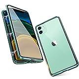 Funda para iPhone 11 Adsorcion Magnetica Carcasa 360 Grados Protección Case Estuche Doble Untre Delgada Vidrio Templado Marco Aluminio Anti Choque Metal Flip Cover