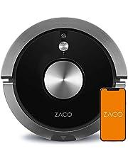 ZACO A9s robotstofzuiger met laadstation met dweilfunctie, app en Alexa-bediening, 2 uur looptijd, voor dierenharen, 3-in-1 harde vloeren afvegen, tapijten stofzuigen en borstelen, Zwart