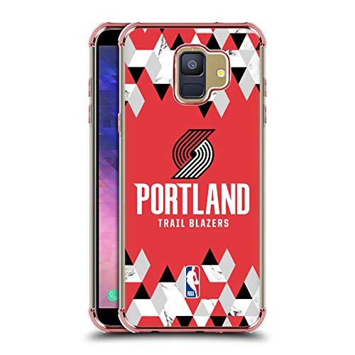 Officiële NBA Geometrisch marmer 2018/19 Portland Trail Blazers Rose Shockproof Fender Case Compatibel voor Samsung Galaxy A6 (2018)