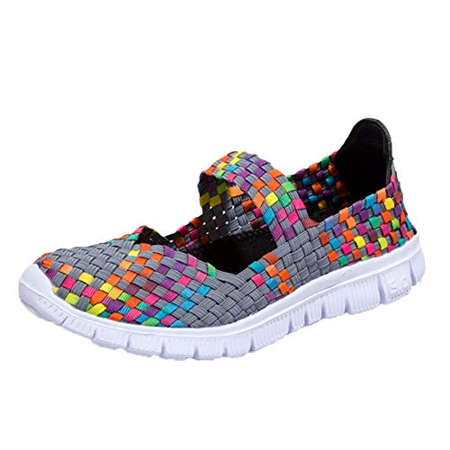 DoGeek Schuhe Damen Gewebte Schuhe Handgemachte Geflochten Leichte Sandalen Damen Elastisch Wanderschuhe Sommerschuhe Damen,grau,35EU