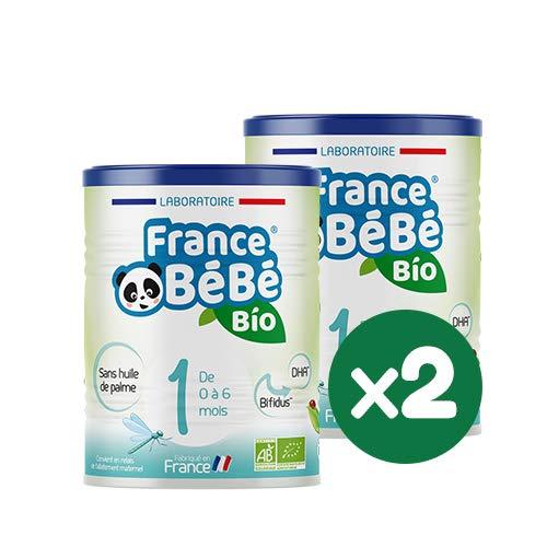 FRANCE BéBé BIO - Lait infantile pour bébé 1er âge en poudre 0 à 6 mois - Lait fabriqué en France - BIFIDUS - SANS HUILE DE PALME - Pack 2 boîtes de 400g