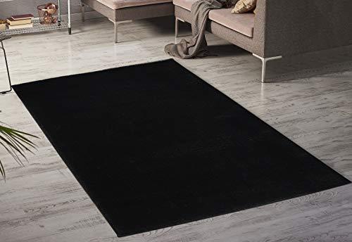 Serdim Rugs Paris Wohnzimmer-Teppich, schimmernd, einfarbig, 60 x 110 cm, Schwarz