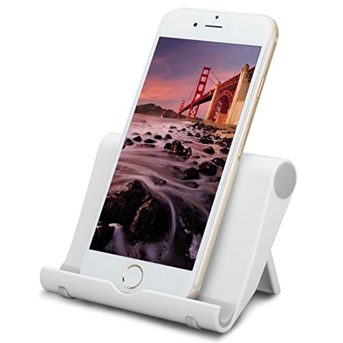 Adjustable Cell Phone Stand for Desk, Multi-Angle Cell Phone Holder, Foldable Mobile Phone Dock, Portable Desktop Tablet Stands, Compatible with iPhone 12 iPhone 11 Pro Xs X 8 Samsung Galaxy (White)