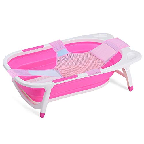 BABY JOY Collapsible Baby Bathtub, Folding Portable Shower Basin with Non-Slip Mat, Storage Slot, Recline Position for Infant (Pink)