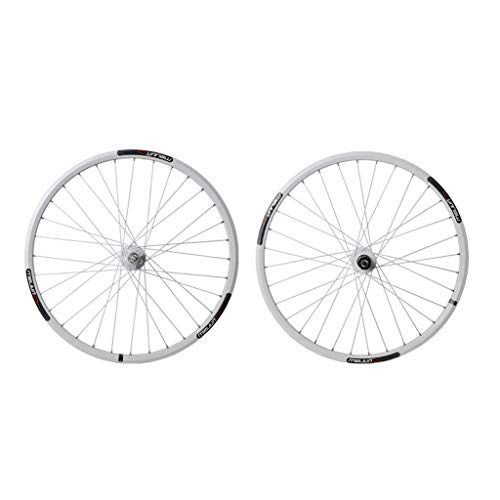 SN Outdoor Mountain Bicycle Wheelset, 26 Inch Double Wall MTB Rim Quick Release Disc Brake Hybrid/Bike 32 Hole Disc 7 8 9 10 Speed Training (Color : White, Size : 26 inch)