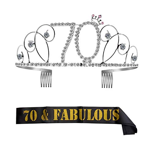 ZWOOS Cristal Cumpleaños Corona Princesa Feliz Cumpleaños de Número 70 Accesorios con Peine Faja de Cumpleaños para Suministros para Fiestas de Feliz cumpleaños, Favores, Decoraciones
