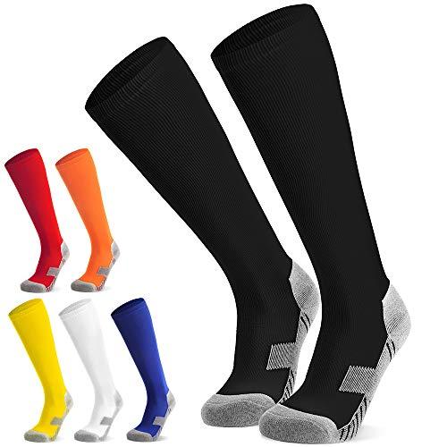 Kinder Fussballsocken Fussballstutzen Fussballstrümpfe Jungen Mädchen - Sportsocken Trainingssocke Sockenstutzen - für Fußball, Laufen, Training (Schwarz M)