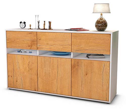 Stil.Zeit Sideboard Dorinde/Korpus anthrazit matt/Front Holz-Design Eiche (136x79x35cm) Push-to-Open Technik und hochwertigen Leichtlaufschienen