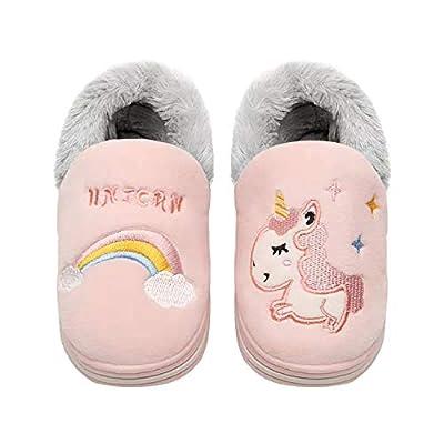 Zapatillas de algodón para interior con diseño de unicornio, antideslizantes, cómodas, cálidas, suaves para invierno para niños, tallas 18 a 25, de Coralup, color Rosa, talla 26/27 EU