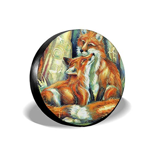 """Godfery Barton Spare Tire Cover Waterproof Dust-Proof Universal Spare Wheel Fox Love Tire Cover, Fit for Jeep,Trailer, Rv, SUV and Many Vehicle(15"""" for Diameter 27""""-29"""")"""
