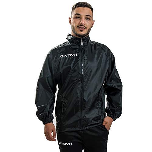 Givova K-Way Rain Básico - Chaleco impermeable cortavientos para entrenamiento deportivo - RJ001 Negro XS
