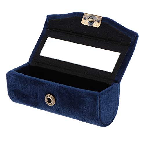 Générique Sharplace Boîte Etui de Rouge à Lèvres en Velveteen avec Mirror Supports Braillant à Lèvres Lipstick Petit de Boîte à Bijoux - Bleu foncé