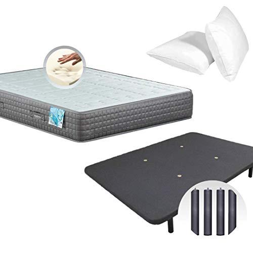 Dulces Sueños Pack Colchon Viscoelastico Premium + Base Tapizada 3D + Patas + 2 Almohadas Visco (150 X 190 Centimeters)