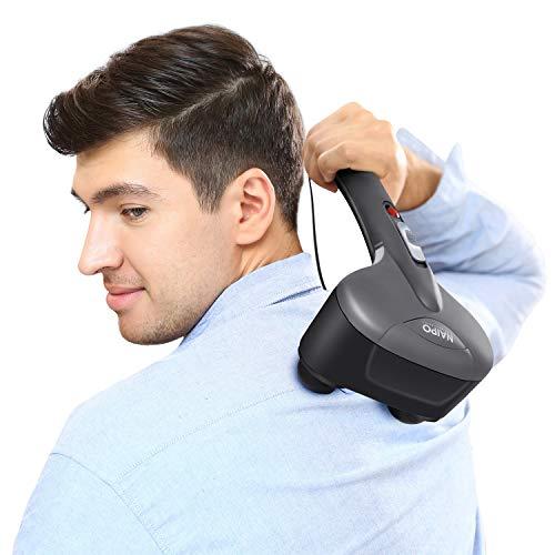 Naipo Handmassagegerät Elektrisches Doppelkopf Perkussion Massagegerät mit Wärmefunktion, 3 Paare austauschbare Knoten für Rücken, Nacken, Schultern, Beine und Fuß, Körperschmerzen Tiefentlastung