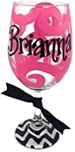 Hand Painted Personalized Wine Glass Hot Pink and Black Chevron