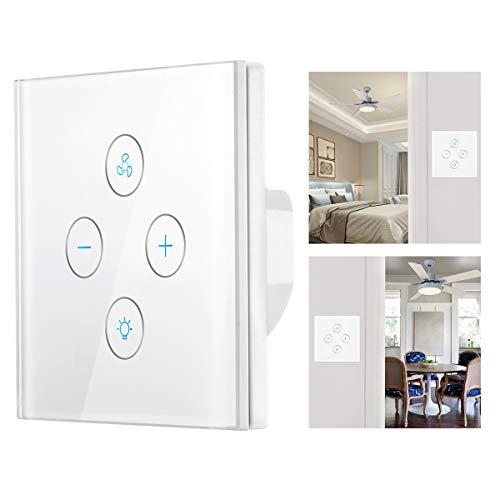 Interruptor de luz WiFi inteligente, Lemonbest WiFi Ventilador de techo inteligente Interruptor temporizador y cuenta regresiva de pared Compatible con Alexa Google
