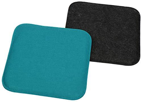 com-four® 2X Juego de Cojines de Asiento tapizados, Cojines de Silla para sillas y Bancos - Cojines de Asiento Cuadrados para Comedor,balcón - 35 x 35 x 2 cm (02 Piezas - Cuadrado Antracita/Azul)