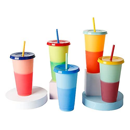 XINGHE Vaso de Bebida fría Que Cambia de Color, Vaso de Agua fría Reutilizable Que Cambia de Color con Tapa y Paja, Vasos de plástico con Tapas.5 Paquetes en 5 Colores.
