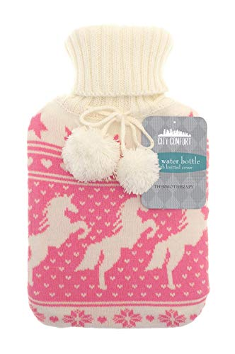 Trendige gestrickte Wärmflasche mit kuscheligem Bezug Premium gestricktes Material 2L (Einhorn)
