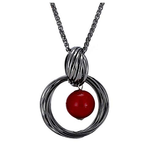 NNKKBH Long necklaces for women vintage black colour red simulated pearl geometric pendant women sweater chain fashion