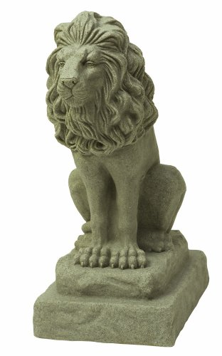 "EMSCO Group Guardian Lion Statue – Natural Sandstone Appearance – Made of Resin – Lightweight – 28"" Height"