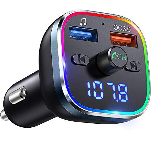 VicTsing FM Transmitter Auto Bluetooth V5.0 &QC3.0, Transmitter für Auto Bluetooth [mit 7 Farbiges Umgebungslicht] Bluetooth Adapter Auto mit 2 USB Anschlüsse, Unterstützt TF Karte/USB-Stick