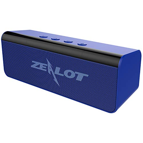 Zealot - Altavoz Bluetooth 5.0, inalámbrico, estéreo, sonido potente con micrófono incorporado, 10 horas de reproducción AUX/TF Card/USB para exterior, casa, viaje, azul