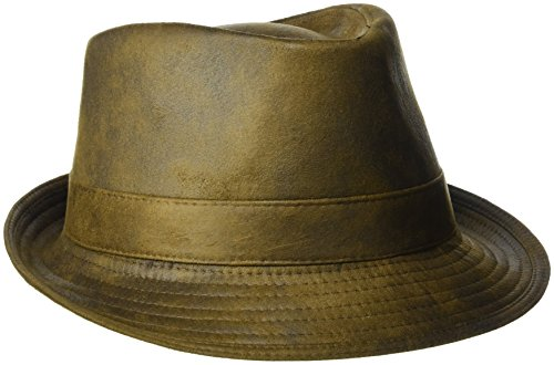 Henschel Hats mens Faux Ultra-suede Leather With Satin Lining Fedora, Distressed Rust, Large US
