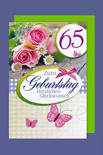 65 Geburtstag Karte Grußkarte Glückwunsch Schleife Foliendruck 16x11cm