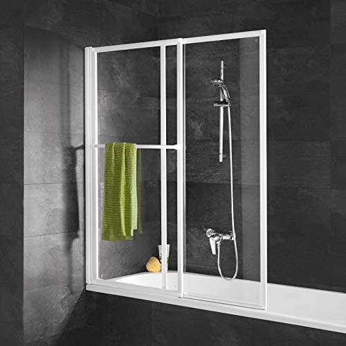 Schulte D1130 04 50 Duschabtrennung mit Handtuchhalter, ausziehbar 70 – 118 cm, 140 cm hoch, 3 mm Sicherheitsglas Klar hell, alpinweiß, Duschwand für Badewanne