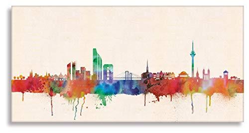 Druck auf leinwand Banksy Graffiti - Bild Düsseldorf Skyline ! Bild fertig auf Keilrahmen !Kunstdrucke, Wandbilder, Bilder zur Dekoration - direk (40x80cm)