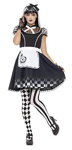 Smiffy's - Dames Gothic Alice kostuum, jurk met schort en haarband, zwart