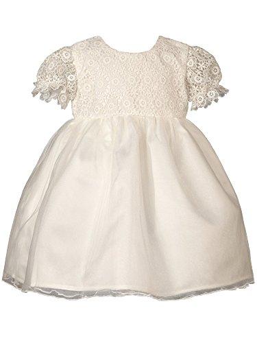 Heritage Lacy Filles Robe de baptême, 3 à 6 mois, Blanc antique
