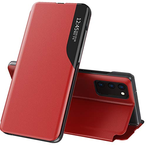 Mking Tech Flip Phone Leather Case for POCO M3. 10 T/Note 20/8/11/12 / Redmi Note 9 Pro/K 30/7 A/X Clam-shell/Sleep/Wake/Smart Holster/New Type View Window-Red