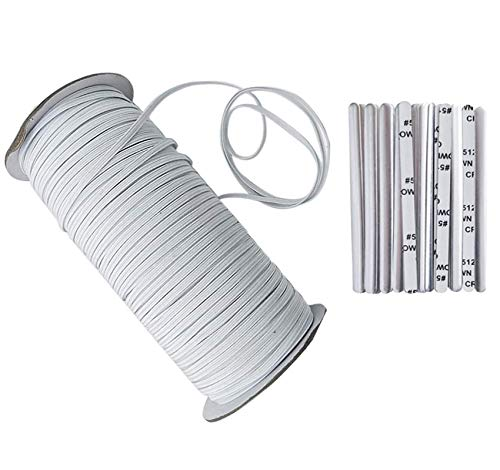 100 Yards Length 1/8 Inch Width Elastic Band White Briaded Knit Elastic String Cord Heavy Stretch Elastic Band for Sewing Craft DIY, Mask, Include 50PCS Nose Bridge Strip(1/8inch(100Yard), White)