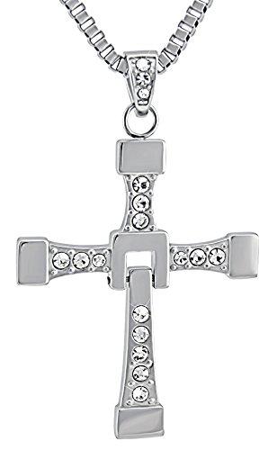 Hanessa Edelstahl Herren-Schmuck mit Gravur auf der Rückseite Hals-kette Kreuz Massiv in Silber Anhänger mit Strass-steinen 58-64 cm. Geschenk zum Valentinstag für den Mann