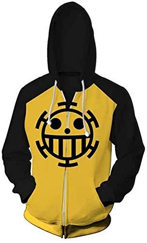 One Piece Hoodie Trafalgar Law Anime Sweatshirt Cosplay Cotton Jolly Roger Die Herz-Piraten Besatzung Lässige Pullover Pullover Taschen (Farbe : Zipper, Size : XXL)