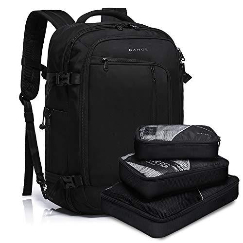 BANGE Travel Overnight Backpack,40-Liter FAA Flight Approved Weekender Bag Carry on Backpack (BLACK (Backpack with 3 Cubes))