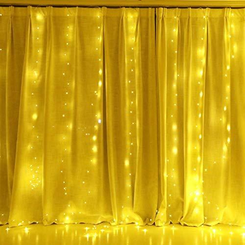 Anpro LED USB Lichtervorhang 3m x 3.1m, 310 LEDs USB Lichterkettenvorhang mit 8 Lichtmodelle und 4 Musik-Modus für Partydekoration Deko Schlafzimmer, Innenbeleuchtung, Warmweiß Musik Light