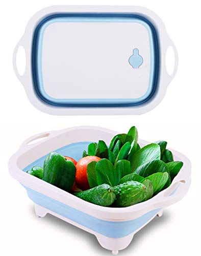 WKX Collapsible Cutting Board Wash Basin Camping and Kitchen Container Plastic Foldable Basin Portable Cut board Multifunction 3 in 1 Silicone Dish Tub With Drain plug Veggies Fruits Basin