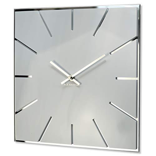 Wanduhr quadratisch Exact 30 cm Durchmesser, ohne tickgeräusche modern, Design Acrylglas und Acrylspiegel, Wohnzimmer, Schlafzimmer (Weiß)
