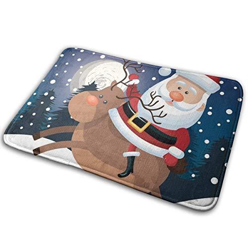 Amanda Walter Felpudo de Interior Navidad Papá Noel Ridin Deer Elegante Felpudo de Bienvenida Entrada Alfombrillas...
